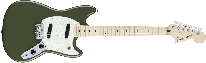 Fender Mustang Short Scale Offset Electric Guitar - Maple Fingerboard – Olive